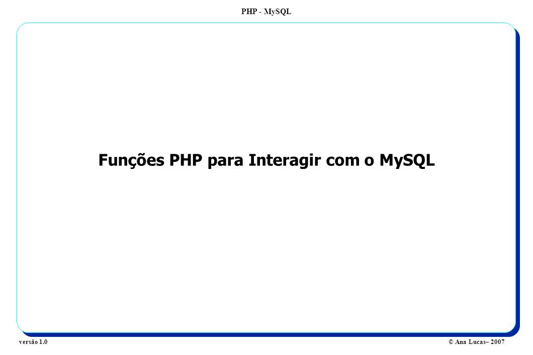 PHP - MySQL © Ana Lucas– 2007versão 1.0 Funções PHP para Interagir com o MySQL