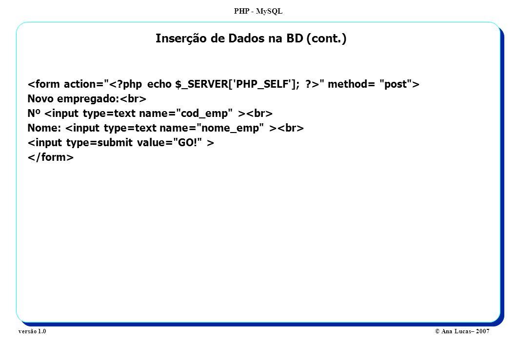 PHP - MySQL © Ana Lucas– 2007versão 1.0 method= post > Novo empregado: Nº Nome: Inserção de Dados na BD (cont.)
