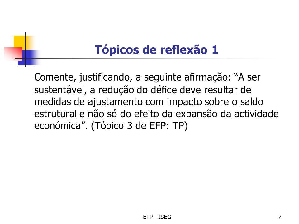 EFP - ISEG7 Tópicos de reflexão 1 Comente, justificando, a seguinte afirmação: A ser sustentável, a redução do défice deve resultar de medidas de ajus