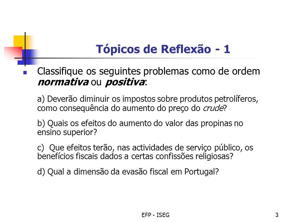EFP - ISEG3 Tópicos de Reflexão - 1 Classifique os seguintes problemas como de ordem normativa ou positiva: a) Deverão diminuir os impostos sobre prod