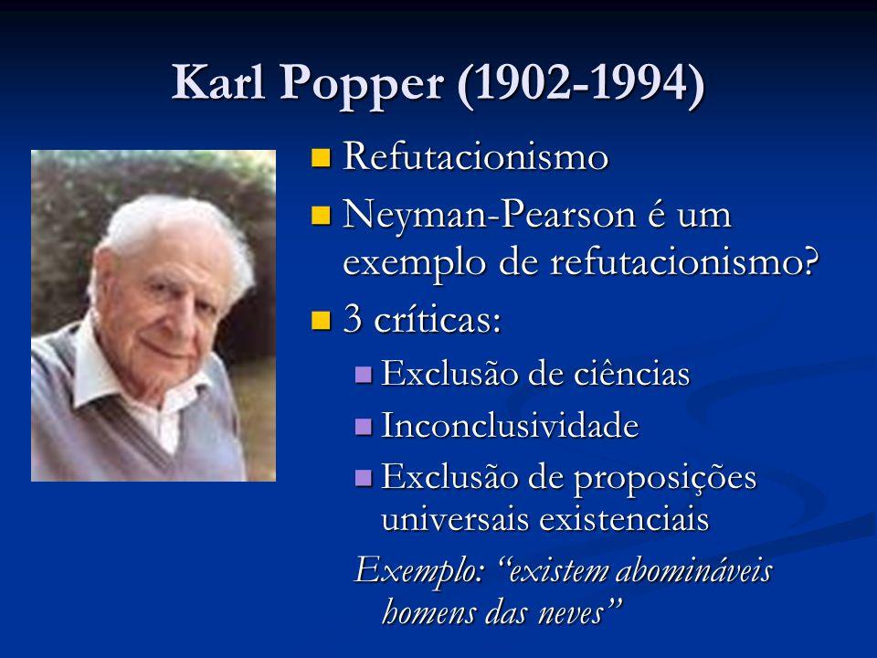 Karl Popper (1902-1994) Refutacionismo Refutacionismo Neyman-Pearson é um exemplo de refutacionismo? Neyman-Pearson é um exemplo de refutacionismo? 3