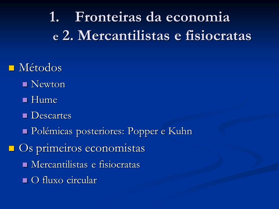 1.Fronteiras da economia e 2. Mercantilistas e fisiocratas Métodos Métodos Newton Newton Hume Hume Descartes Descartes Polémicas posteriores: Popper e