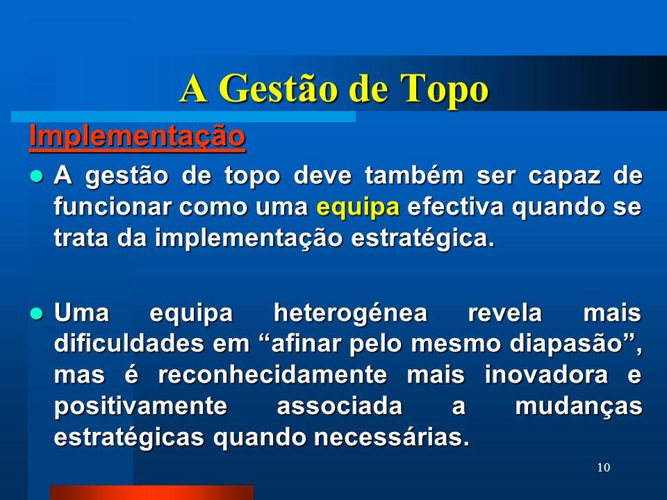 10 A Gestão de Topo Implementação A gestão de topo deve também ser capaz de funcionar como uma equipa efectiva quando se trata da implementação estrat