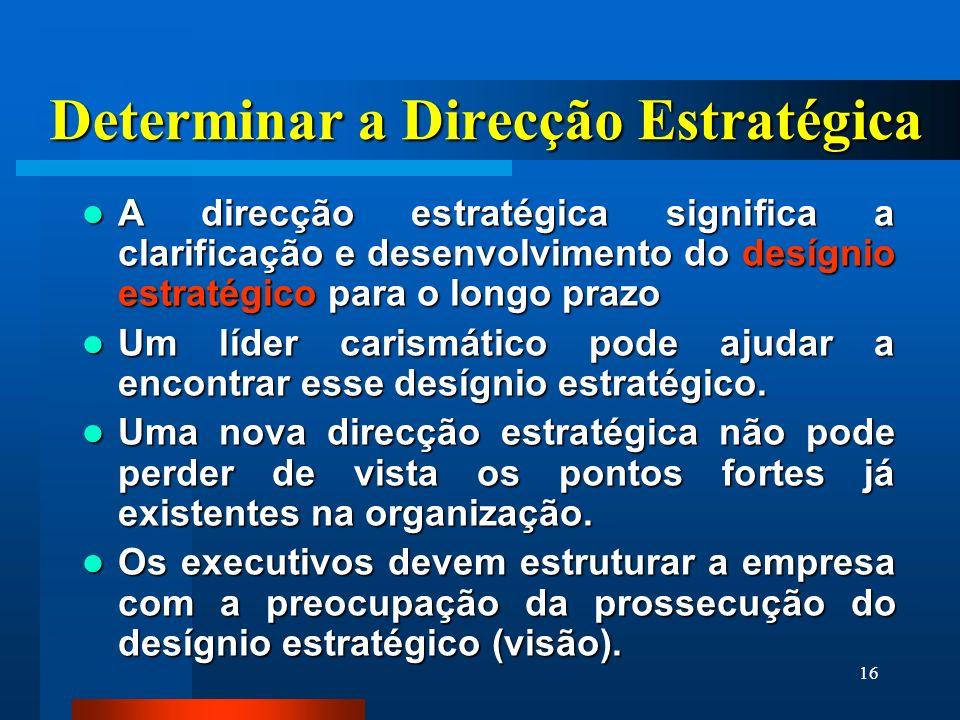 16 Determinar a Direcção Estratégica A direcção estratégica significa a clarificação e desenvolvimento do desígnio estratégico para o longo prazo A di