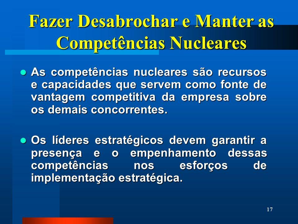 17 Fazer Desabrochar e Manter as Competências Nucleares As competências nucleares são recursos e capacidades que servem como fonte de vantagem competi