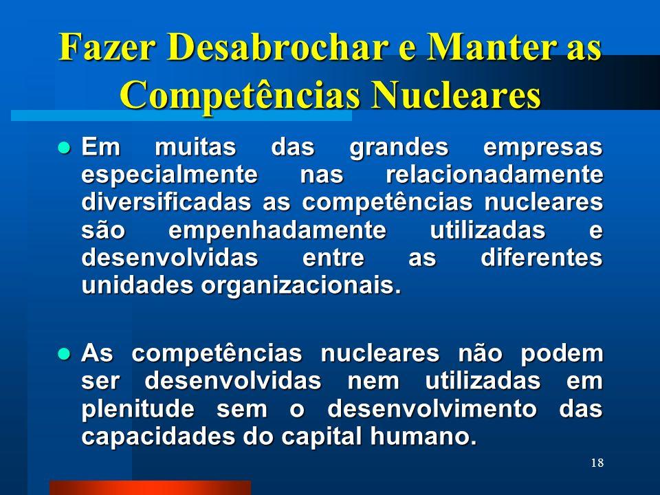 18 Fazer Desabrochar e Manter as Competências Nucleares Em muitas das grandes empresas especialmente nas relacionadamente diversificadas as competênci