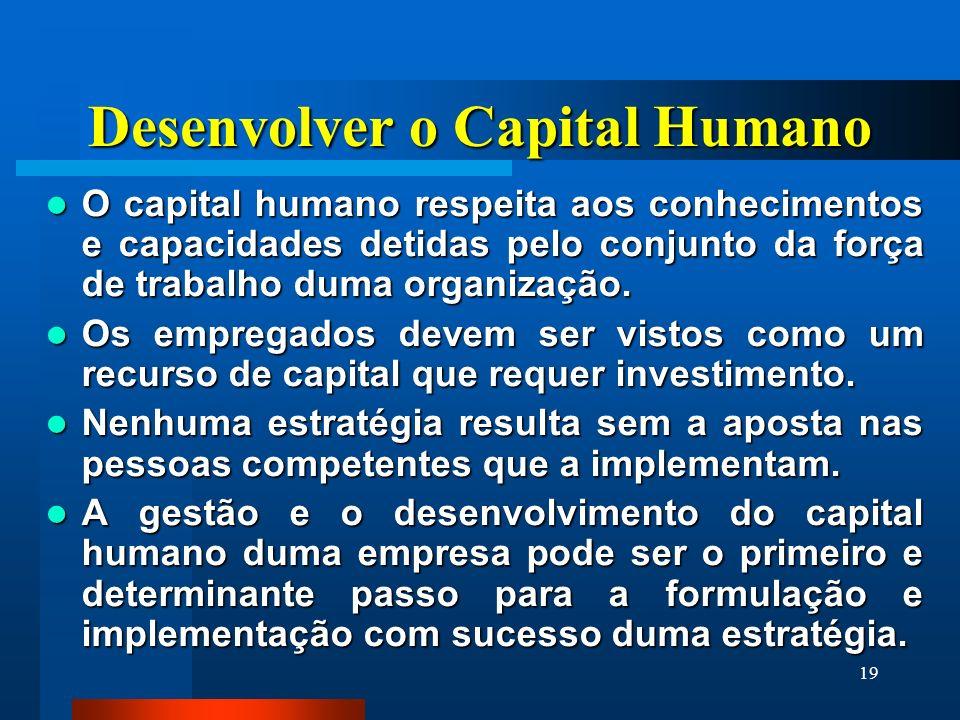 19 Desenvolver o Capital Humano O capital humano respeita aos conhecimentos e capacidades detidas pelo conjunto da força de trabalho duma organização.
