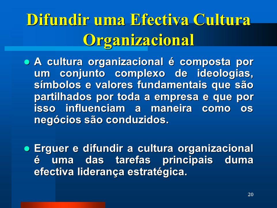 20 Difundir uma Efectiva Cultura Organizacional A cultura organizacional é composta por um conjunto complexo de ideologias, símbolos e valores fundame