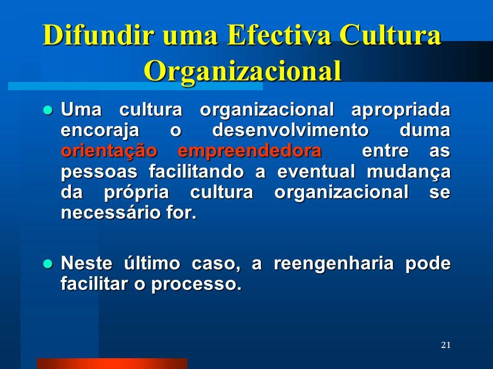 21 Difundir uma Efectiva Cultura Organizacional Uma cultura organizacional apropriada encoraja o desenvolvimento duma orientação empreendedora entre a