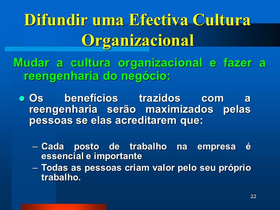 22 Difundir uma Efectiva Cultura Organizacional Mudar a cultura organizacional e fazer a reengenharia do negócio: Os benefícios trazidos com a reengen