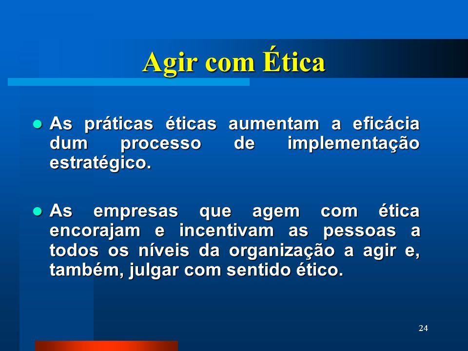 24 Agir com Ética As práticas éticas aumentam a eficácia dum processo de implementação estratégico. As práticas éticas aumentam a eficácia dum process