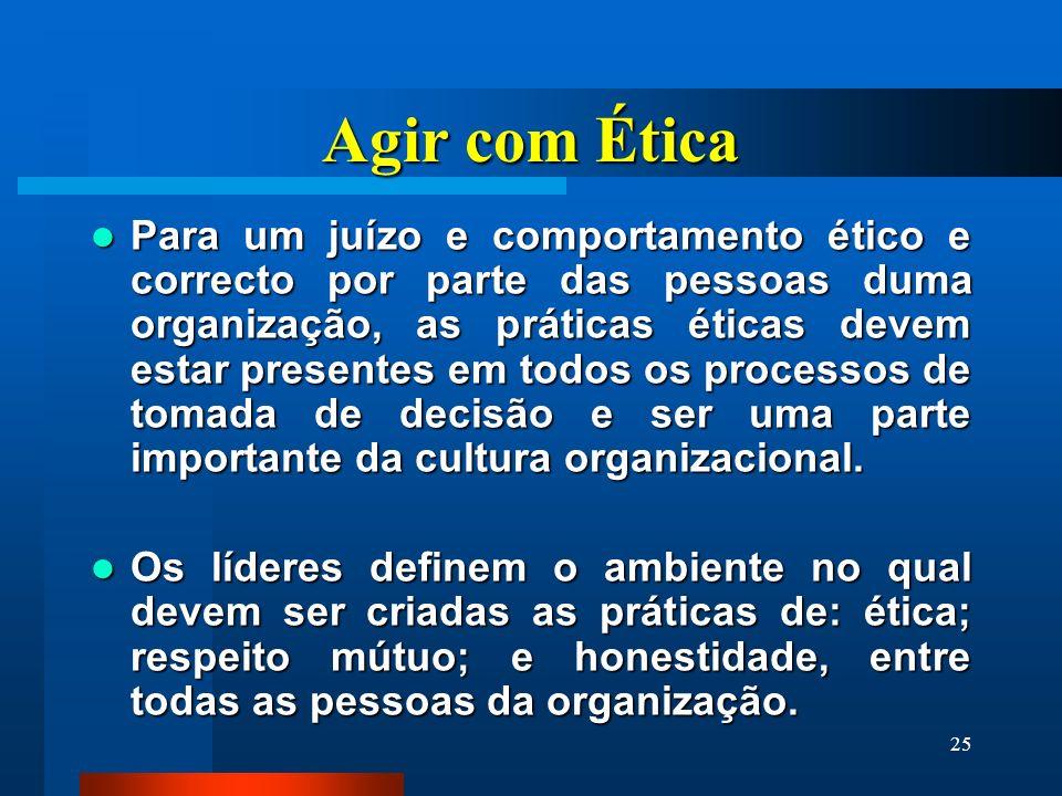 25 Agir com Ética Para um juízo e comportamento ético e correcto por parte das pessoas duma organização, as práticas éticas devem estar presentes em t