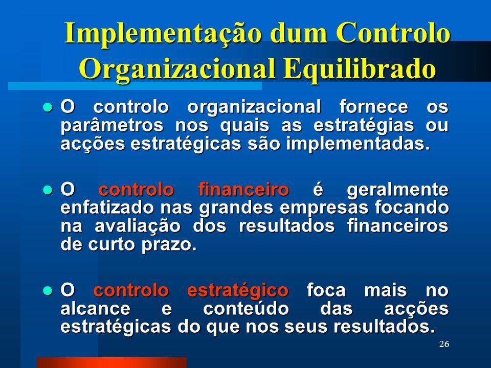 26 Implementação dum Controlo Organizacional Equilibrado O controlo organizacional fornece os parâmetros nos quais as estratégias ou acções estratégic