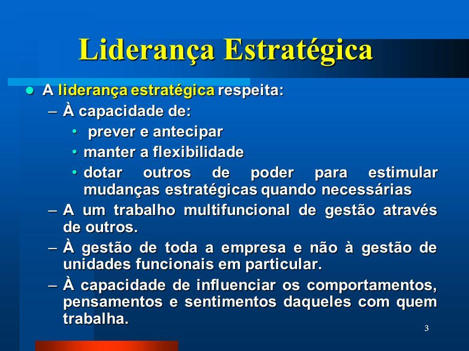 3 Liderança Estratégica A liderança estratégica respeita: A liderança estratégica respeita: –À capacidade de: prever e antecipar prever e antecipar ma