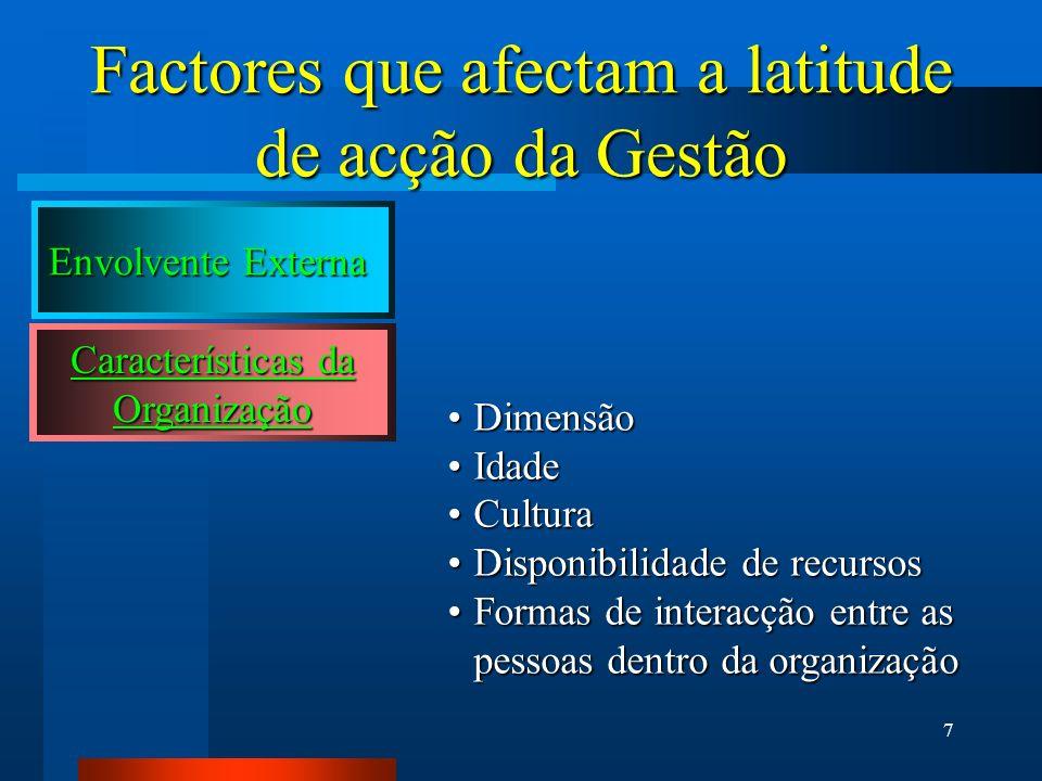7 Factores que afectam a latitude de acção da Gestão Características da Organização DimensãoDimensão IdadeIdade CulturaCultura Disponibilidade de recu