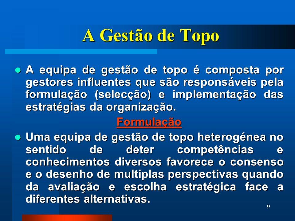 9 A Gestão de Topo A equipa de gestão de topo é composta por gestores influentes que são responsáveis pela formulação (selecção) e implementação das e
