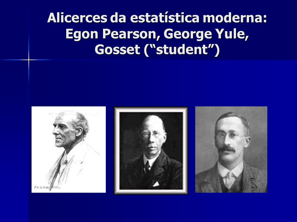 Alicerces da estatística moderna: Egon Pearson, George Yule, Gosset (student)