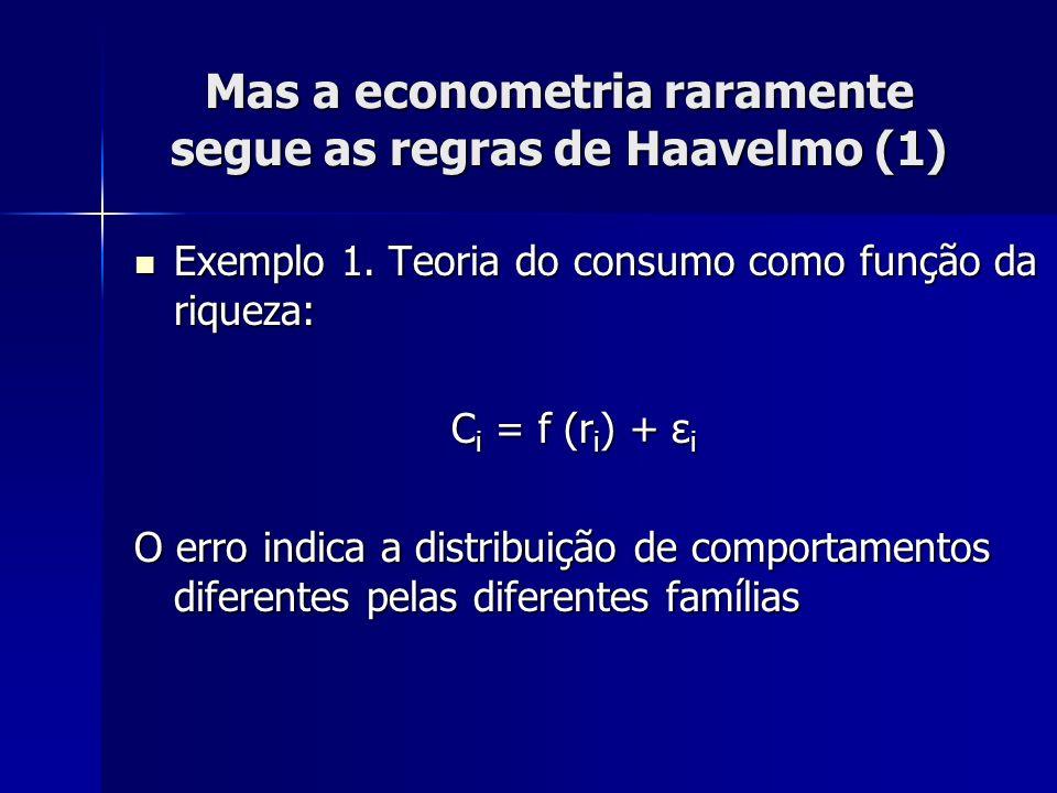 Mas a econometria raramente segue as regras de Haavelmo (1) Exemplo 1. Teoria do consumo como função da riqueza: Exemplo 1. Teoria do consumo como fun