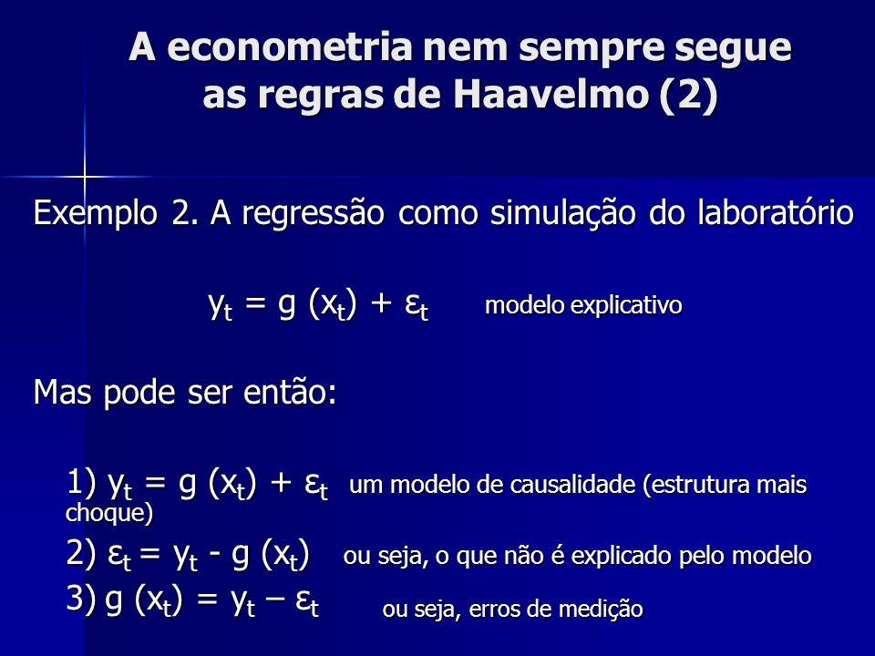 A econometria nem sempre segue as regras de Haavelmo (2) Exemplo 2. A regressão como simulação do laboratório y t = g (x t ) + ε t modelo explicativo