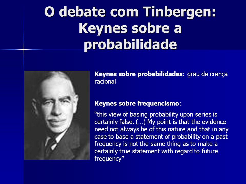 O debate com Tinbergen: Modelo de ciclos: USA (1877-1913 e 1919-1932), UK (1871-1910), França (1871-1908), Alemanha (1871-1912) Modelo USA: 22 equações, 31 variáveis, uso de regressão múltipla e OLS Críticas de Keynes: a)Complexidade irredutível a um modelo b)Não linearidade c)Dificuldade de especificação e homogeneidade no tempo d)Incomensurabilidade e)Dificuldade de analisar resultados qualitativos