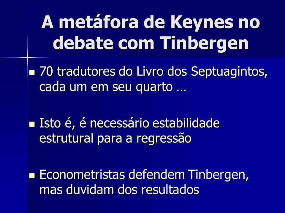 A metáfora de Keynes no debate com Tinbergen 70 tradutores do Livro dos Septuagintos, cada um em seu quarto … 70 tradutores do Livro dos Septuagintos,