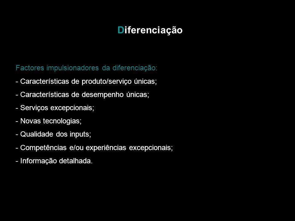 Diferenciação Factores impulsionadores da diferenciação: - Características de produto/serviço únicas; - Características de desempenho únicas; - Serviços excepcionais; - Novas tecnologias; - Qualidade dos inputs; - Competências e/ou experiências excepcionais; - Informação detalhada.