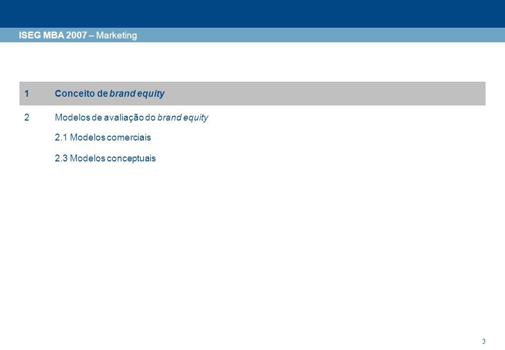 3 ISEG MBA 2007 – Marketing 1Conceito de brand equity 2Modelos de avaliação do brand equity 2.1 Modelos comerciais 2.3 Modelos conceptuais