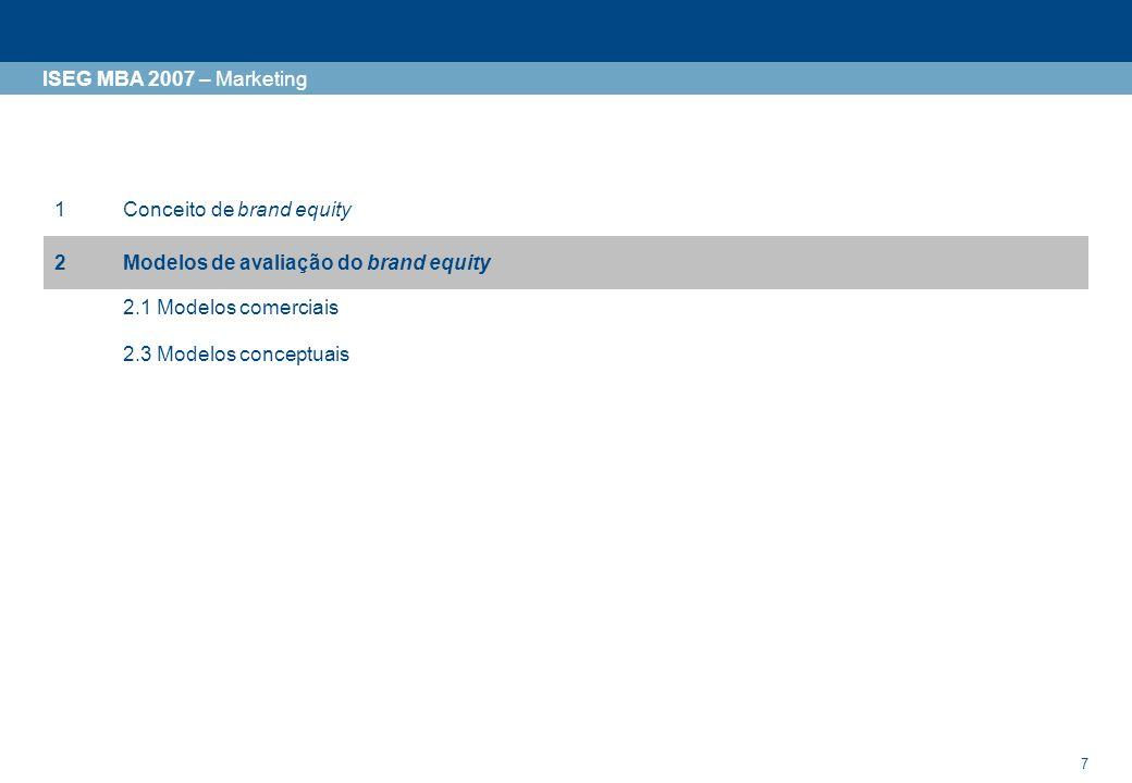 7 ISEG MBA 2007 – Marketing 1Conceito de brand equity 2Modelos de avaliação do brand equity 2.1 Modelos comerciais 2.3 Modelos conceptuais
