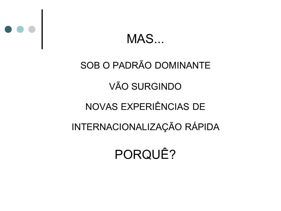 MAS... SOB O PADRÃO DOMINANTE VÃO SURGINDO NOVAS EXPERIÊNCIAS DE INTERNACIONALIZAÇÃO RÁPIDA PORQUÊ?