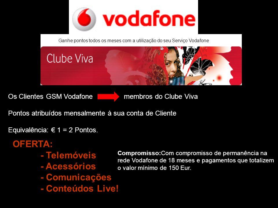 Ganhe pontos todos os meses com a utilização do seu Serviço Vodafone Os Clientes GSM Vodafone membros do Clube Viva Pontos atribuídos mensalmente à su
