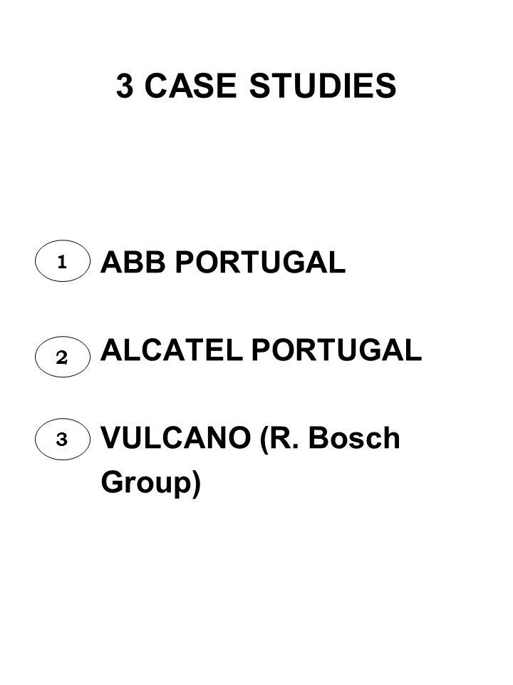 3 CASE STUDIES ABB PORTUGAL ALCATEL PORTUGAL VULCANO (R. Bosch Group) 1 2 3