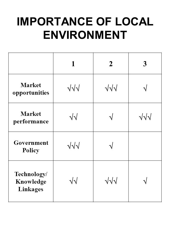 IMPORTANCE OF LOCAL ENVIRONMENT 123 Market opportunities Market performance Government Policy Technology/ Knowledge Linkages