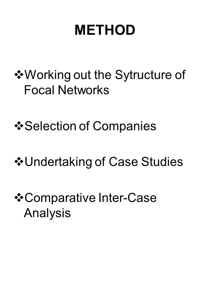 METHOD Working out the Sytructure of Focal Networks Selection of Companies Undertaking of Case Studies Comparative Inter-Case Analysis