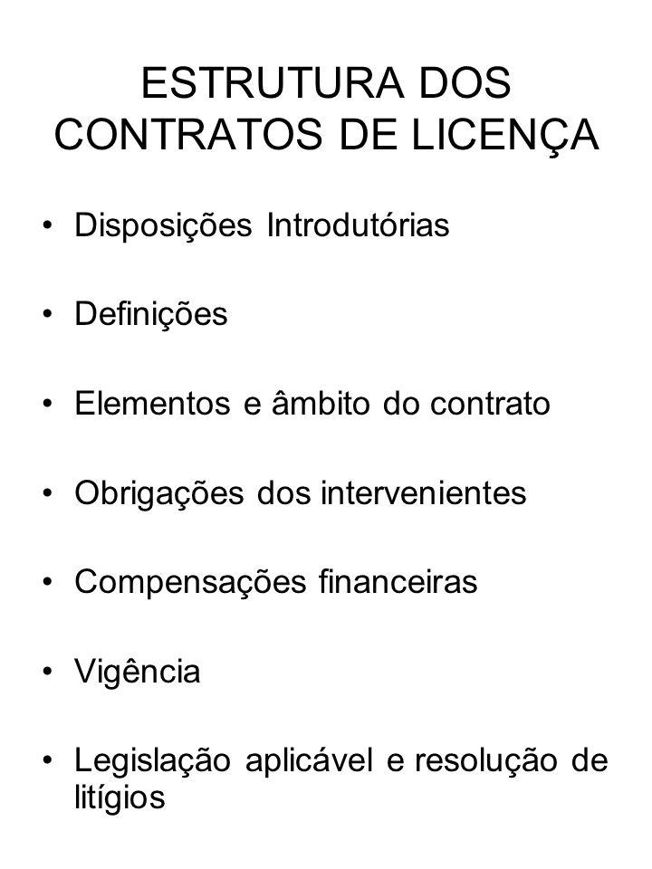 ESTRUTURA DOS CONTRATOS DE LICENÇA Disposições Introdutórias Definições Elementos e âmbito do contrato Obrigações dos intervenientes Compensações fina