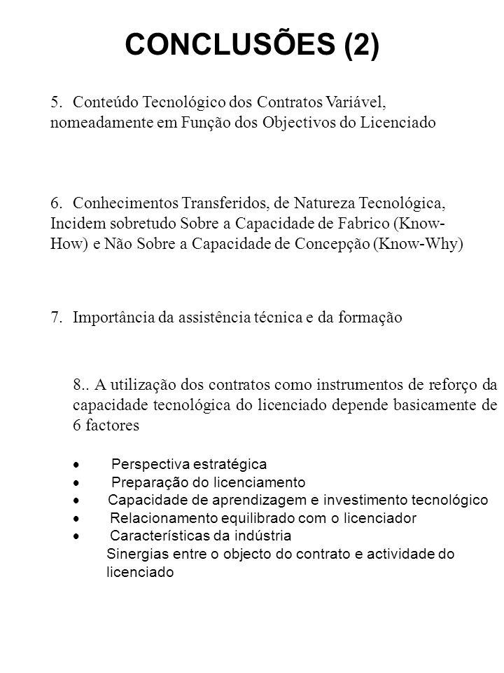 CONCLUSÕES (2) 5. Conteúdo Tecnológico dos Contratos Variável, nomeadamente em Função dos Objectivos do Licenciado 6. Conhecimentos Transferidos, de N