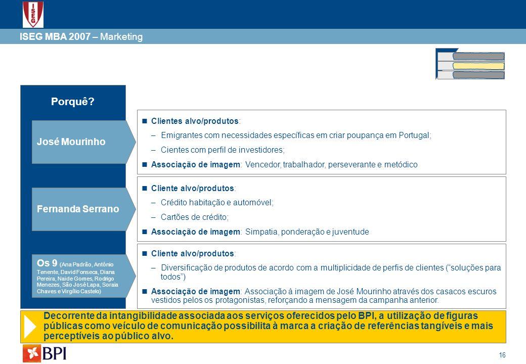 16 ISEG MBA 2007 – Marketing Porquê? José Mourinho Clientes alvo/produtos: –Emigrantes com necessidades específicas em criar poupança em Portugal; –Ci