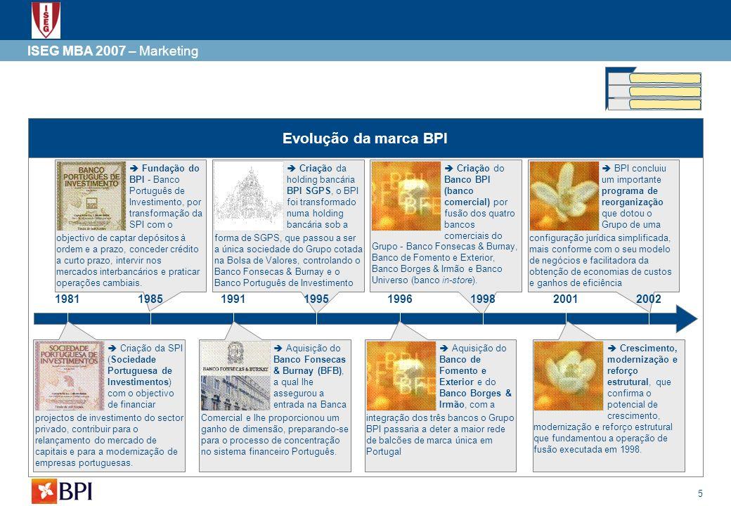 5 ISEG MBA 2007 – Marketing Evolução da marca BPI Fundação do BPI - Banco Português de Investimento, por transformação da SPI com o objectivo de capta