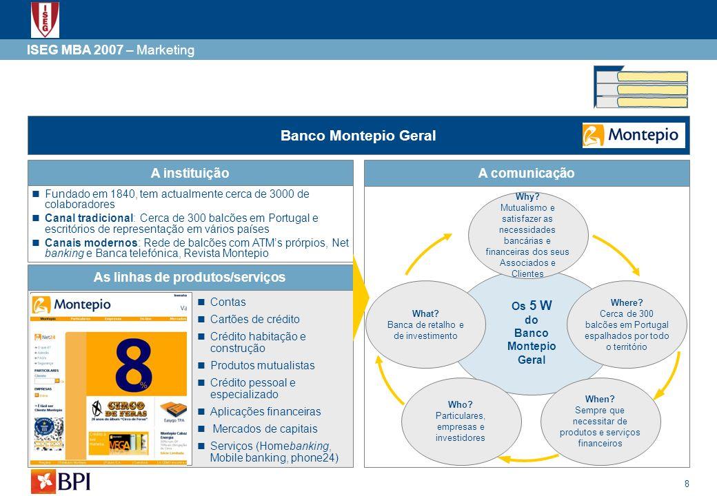19 ISEG MBA 2007 – Marketing Valor dos canais de distribuição do BPI Contudo os canais tradicionais potenciam a criação de relações privilegiadas entre o banco e os seus clientes, apesar de por definição ser um canal mais ineficiente.