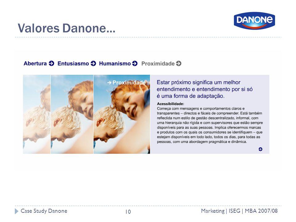Case Study DanoneMarketing | ISEG | MBA 2007/08 10 Valores Danone...