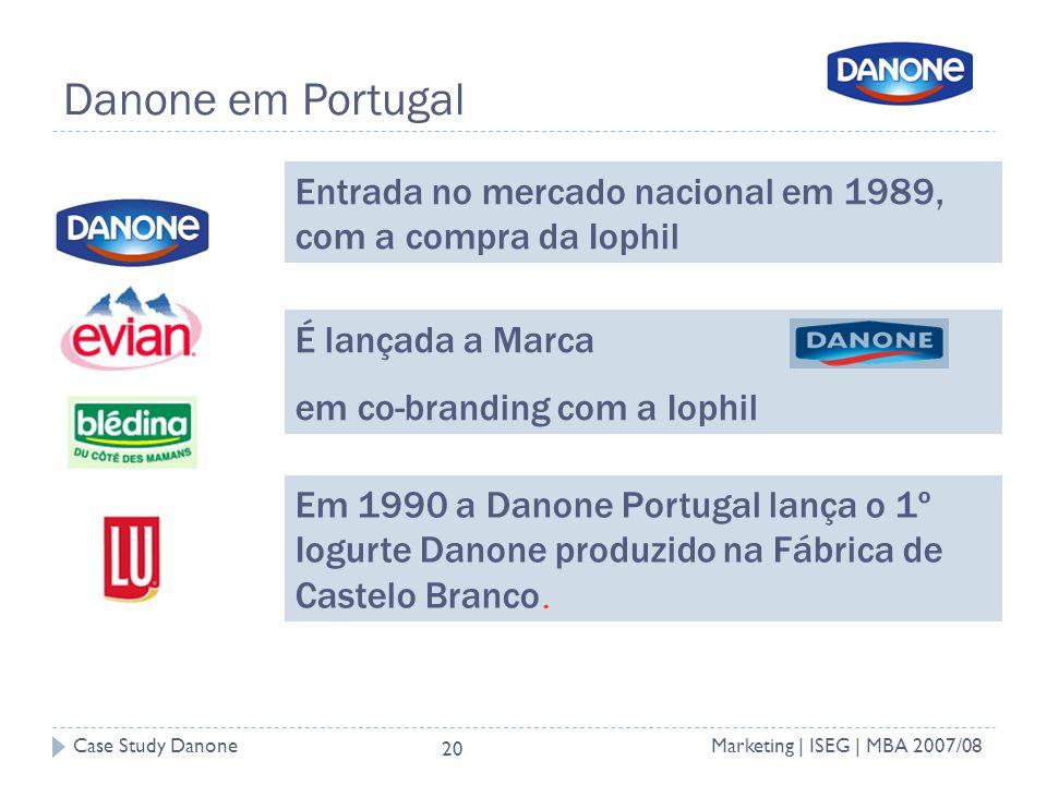 Case Study DanoneMarketing | ISEG | MBA 2007/08 20 Danone em Portugal Entrada no mercado nacional em 1989, com a compra da Iophil É lançada a Marca em co-branding com a Iophil Em 1990 a Danone Portugal lança o 1º Iogurte Danone produzido na Fábrica de Castelo Branco.