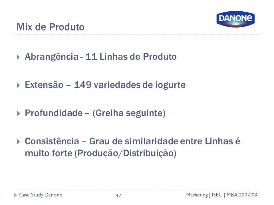 Case Study DanoneMarketing | ISEG | MBA 2007/08 42 Mix de Produto Abrangência - 11 Linhas de Produto Extensão – 149 variedades de iogurte Profundidade – (Grelha seguinte) Consistência – Grau de similaridade entre Linhas é muito forte (Produção/Distribuição)