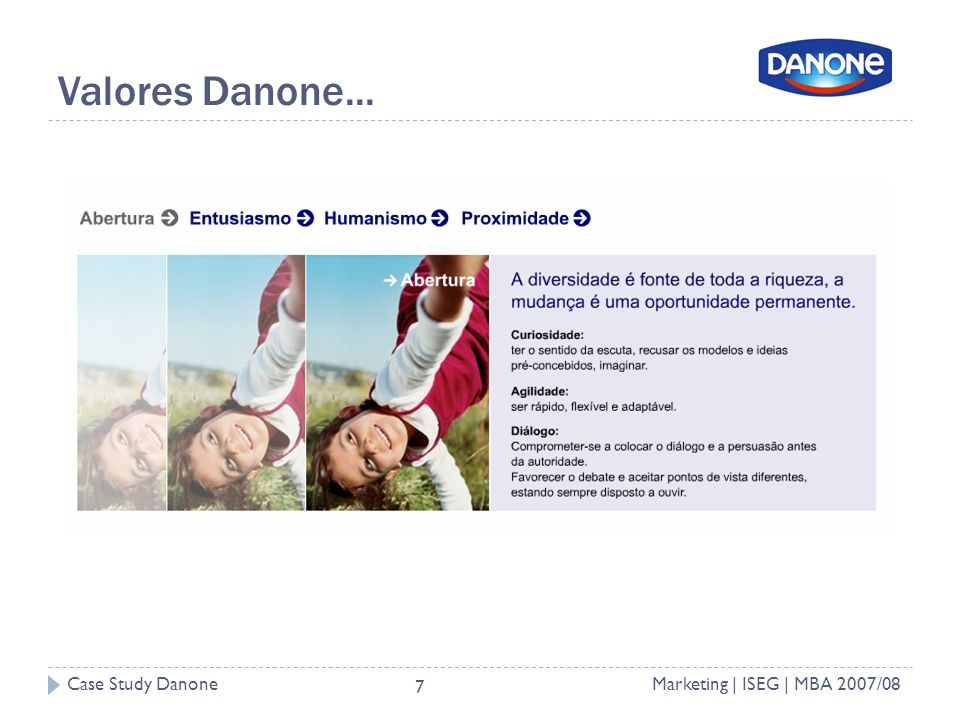 Case Study DanoneMarketing | ISEG | MBA 2007/08 7 Valores Danone...