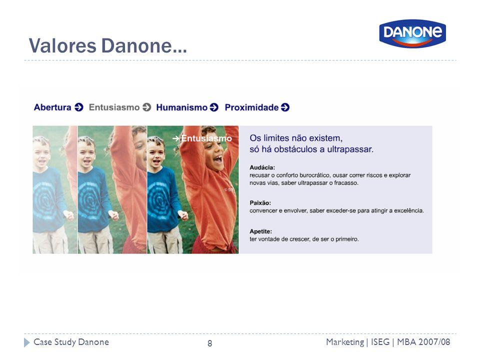 Case Study DanoneMarketing | ISEG | MBA 2007/08 8 Valores Danone...