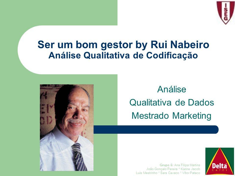 Ser um bom gestor by Rui Nabeiro Análise Qualitativa de Codificação Análise Qualitativa de Dados Mestrado Marketing Grupo 6: Ana Filipa Martins João G