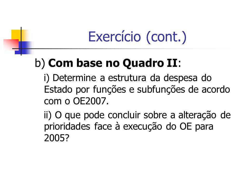 Exercício (cont.) b) Com base no Quadro II: i) Determine a estrutura da despesa do Estado por funções e subfunções de acordo com o OE2007. ii) O que p