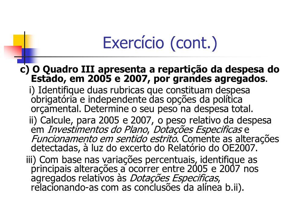 Exercício (cont.) c) O Quadro III apresenta a repartição da despesa do Estado, em 2005 e 2007, por grandes agregados. i) Identifique duas rubricas que