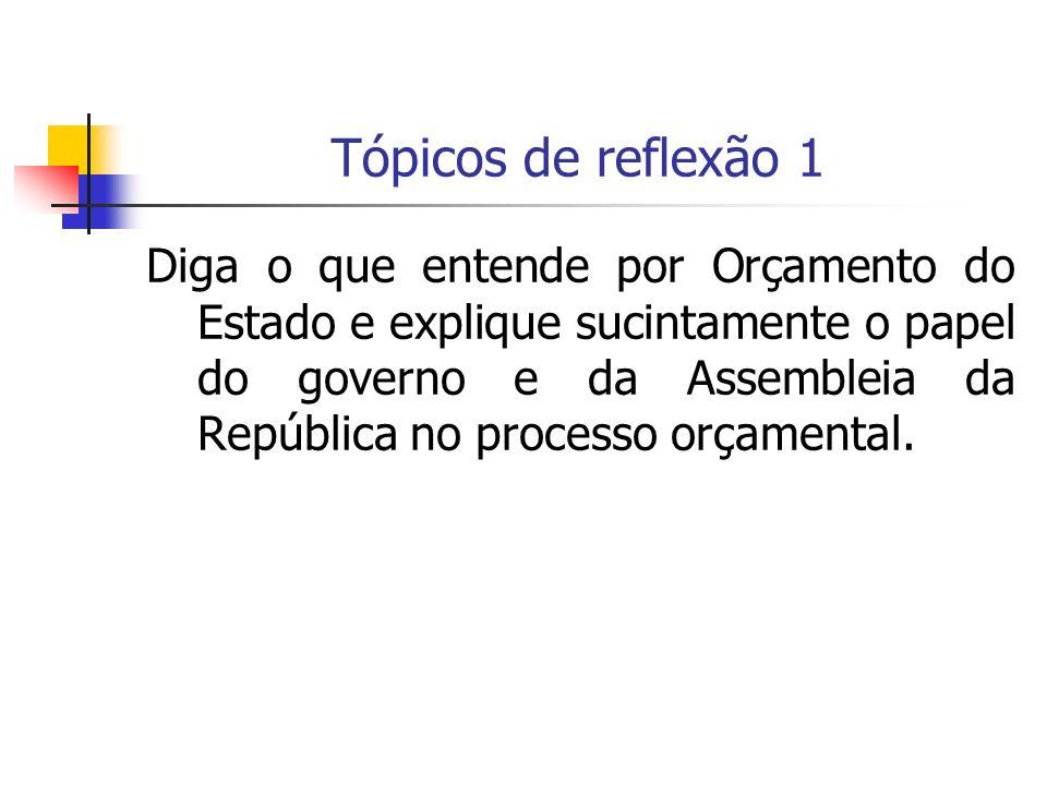 Tópicos de reflexão 1 Diga o que entende por Orçamento do Estado e explique sucintamente o papel do governo e da Assembleia da República no processo o