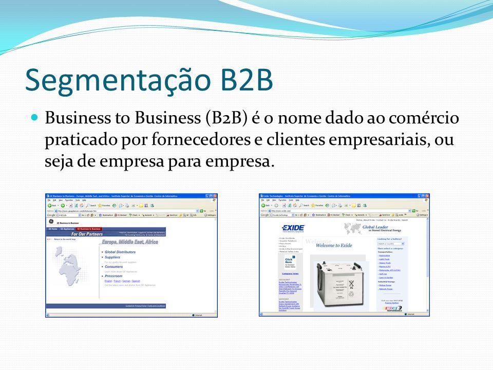 Segmentação B2B Business to Business (B2B) é o nome dado ao comércio praticado por fornecedores e clientes empresariais, ou seja de empresa para empre