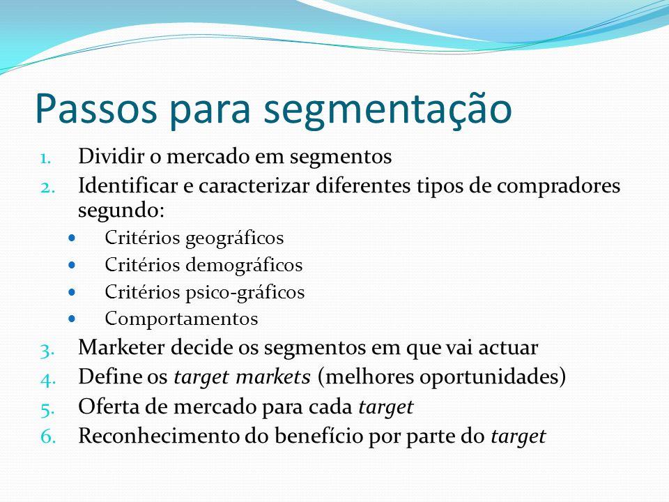 Passos para segmentação 1. Dividir o mercado em segmentos 2. Identificar e caracterizar diferentes tipos de compradores segundo: Critérios geográficos