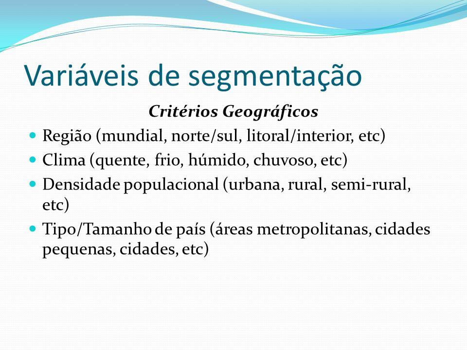 Variáveis de segmentação Critérios Geográficos Região (mundial, norte/sul, litoral/interior, etc) Clima (quente, frio, húmido, chuvoso, etc) Densidade
